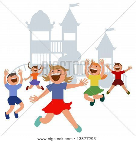 Kids jumping with joy on a playground. Vector illustration. Grouped for easy editing.