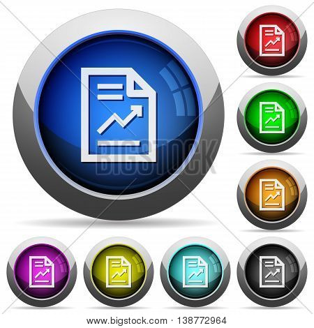 Set of round glossy report buttons. Arranged layer structure.