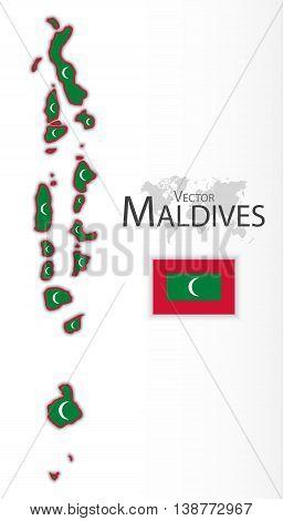 Maldives ( Republic of Maldives ) ( flag and map ) ( transportation and tourism concept )