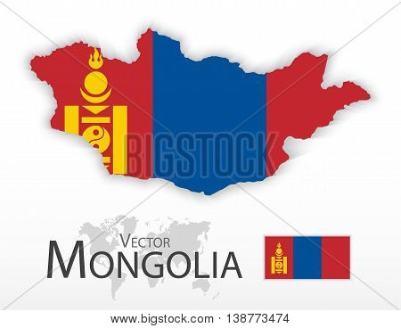Mongolia ( flag and map ) ( transportation and tourism concept )