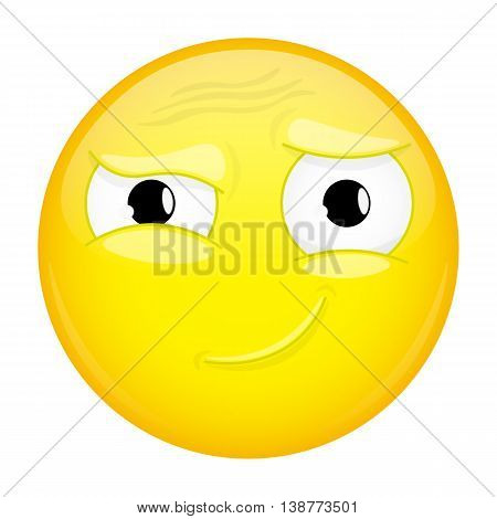 Hah emoji. Good emotion. Smirk emoticon. Vector illustration smile icon.