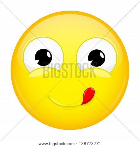 Lick lips emoji. Good emotion. Yummy emoticon. Vector illustration smile icon.