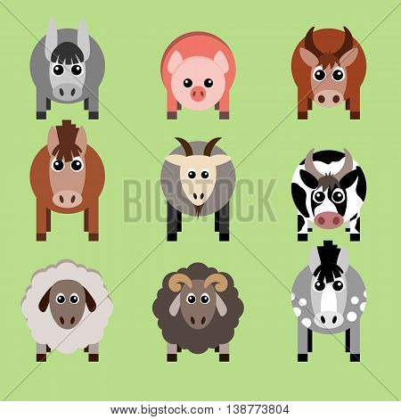 Vector illustration of farm animals and related items. Grouped for easy editing.