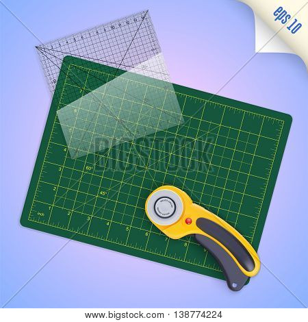 Cutting mat square transparent ruler with millimeter scale and rotary cutter for quilting and patchwork vector illustration