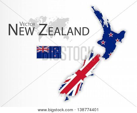 New Zealand ( flag and map ) ( transportation and tourism concept )