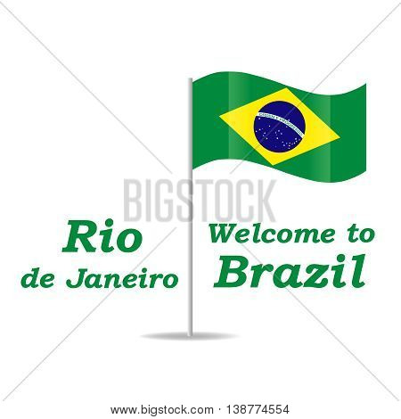 Vector illustration Welcome to Brazil. Abstract background with flag of Brazil.