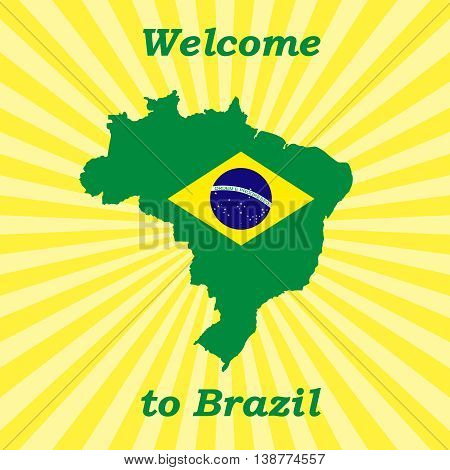 Vector illustration Welcome to Brazil. Abstract background with symbol of Brazil.
