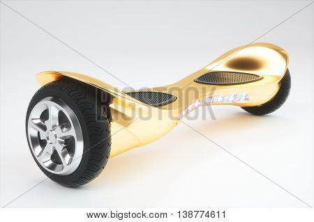 Golden color hoverboard on white background. 3D render