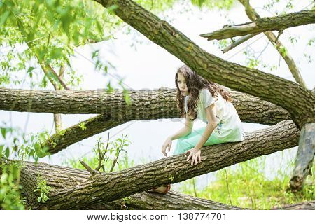 Little Girl in white dress sitting on tree trunk on the background of summer park