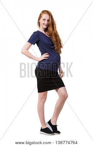 Young pregnant woman isolated on white