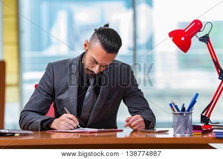 Man businessman working at this desk