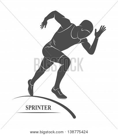 Icon runners on short distances sprinter.  illustration.
