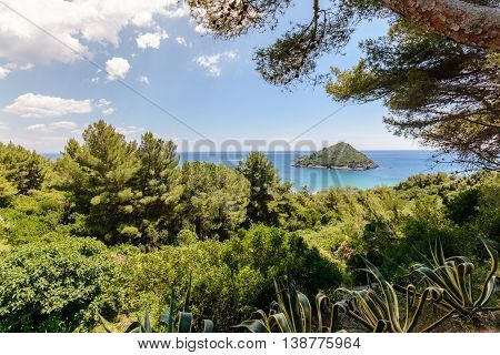 Tuscany coastline with little island in front