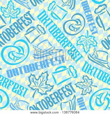 Vector background bavarian seamless pattern flag oktoberfest. On Background blue rhombus diamond  - symbols Oktoberfest: mug beer, pretzel, tyrolean hat, maple leaf. Textile tablecloth Bayern