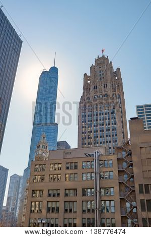 CHICAGO, IL - CIRCA APRIL, 2016: Chicago downtown in the daytime. Chicago is the third most populous city in the United States.
