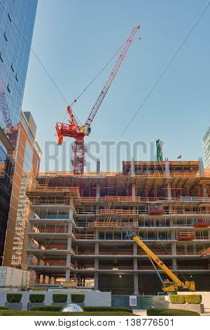 CHICAGO, IL - CIRCA APRIL, 2016: construction site in Chicago. Chicago is the third most populous city in the United States.
