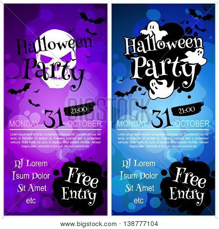 Two vertical orientation flyers for Halloween party. Vector template invitation in dark tones