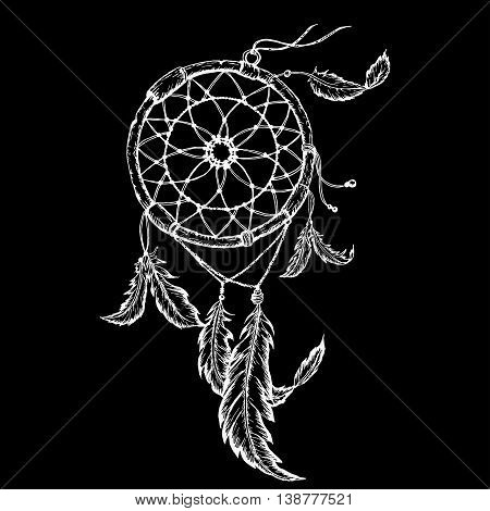 Hand-drawn dreamcatcher with feathers. Ethnic illustration tribal