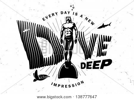 Every day is a new impression. Black and white graphic composition with motivating phrase on the topic diving