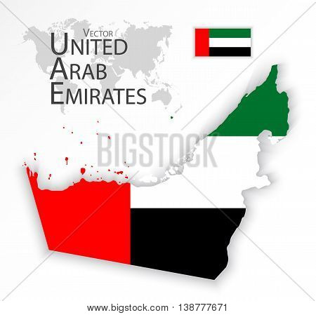 United Arab Emirates ( flag and map ) ( transportation and tourism concept )