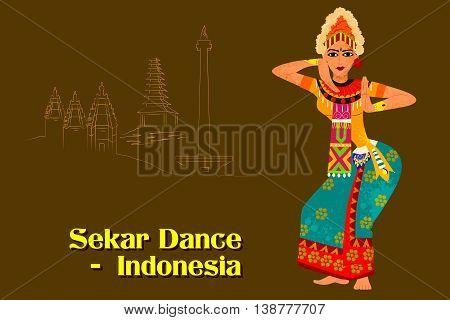 Vector design of Woman performing Sekar dance of Indonesia
