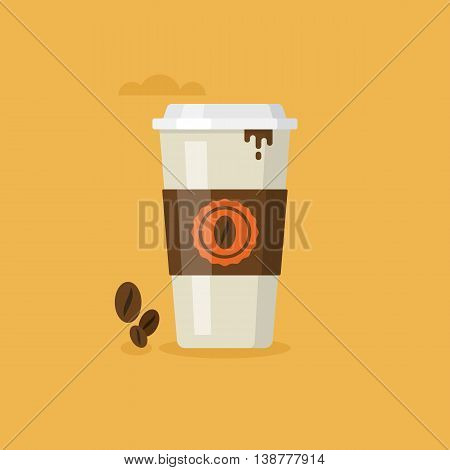 Paper coffee cup icon for web and graphic design. Coffee to go concept