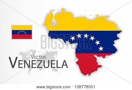 Venezuela ( Bolivarian Republic of Venezuela ) ( flag and map ) ( transportation and tourism concept )