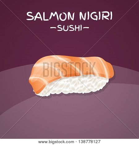 Salmon Nigiri Sushi. Realistic style sushi with rice and salmon fish. Japanese cuisine poster. Vector illustration