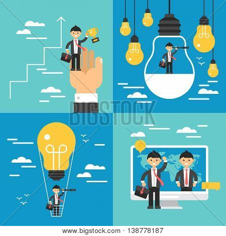 Business concept set. Search of opportunities leadership growth and innovation businees concept