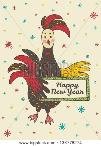 2017 Happy New Year greeting card with hand drawn Rooster holding a plate. Vector hand drawn illustration of Rooster on beige background.