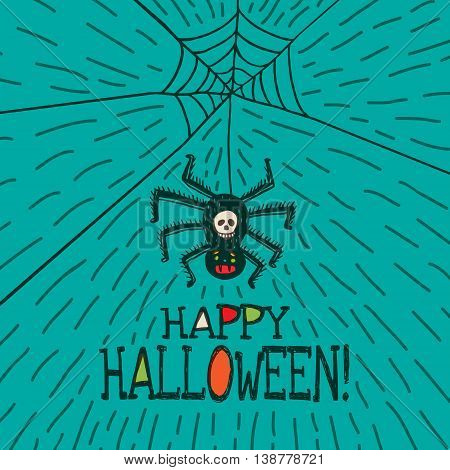 Halloween card with hand drawn hanging spider on turquoise background. Vector hand drawn illustration.