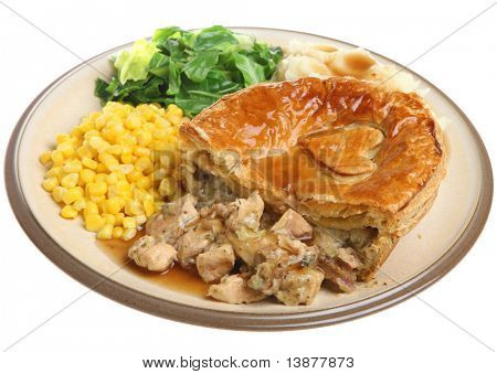 Chicken pie with cabbage, sweetcorn, mashed potato and gravy.
