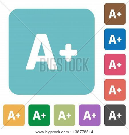Flat increase font size icons on rounded square color backgrounds.