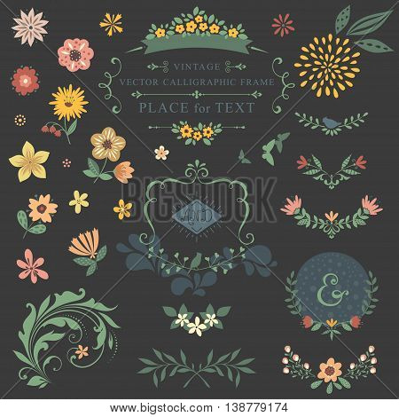 Floral graphic set with swirls, laurels, wreaths, branches and flowers.