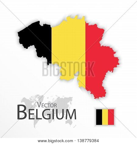 Belgium ( Kingdom of Belgium ) ( flag and map ) ( transportation and tourism concept )