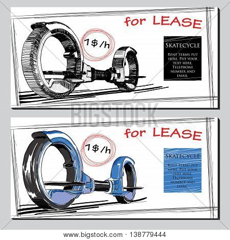 Vector illustration of set Lease Brochure Hand drawn Skate cycle with price. Template for rent design.