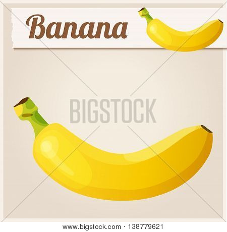 Banana.  Detailed Vector Icon. Series of food and drink and ingredients for cooking.