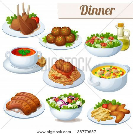 Set of food icons isolated on white background. Dinner. Lamb chops, spaghetti with meat balls, salad with olive oil, cream soup, bollion, grilled sausages, greek salad, and chicken wings.