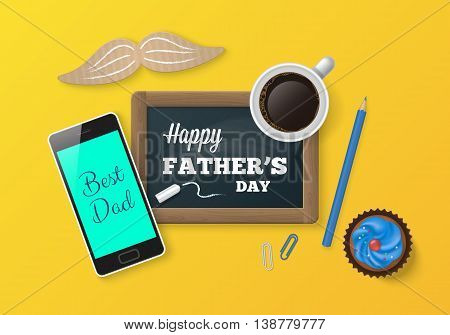 Happy father's day concept. Chalkboard smartphone and coffee cup realistic vector illustration. Website banner design. Desk top view