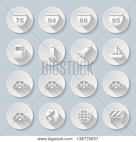 Set of flat round signs on the gray background