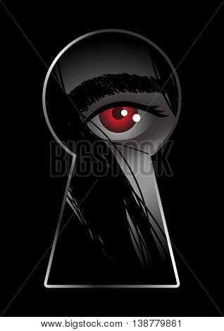 Illustration of red eye looking through from keyhole
