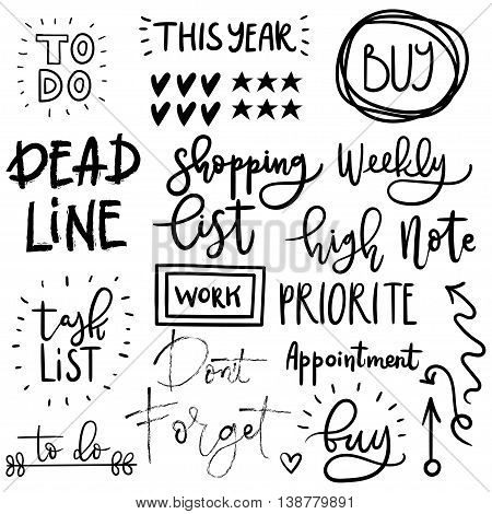 Set of cute vector vintage simple hand drawn diary stickers. Hand lettering. Motivating quotes. To do list.