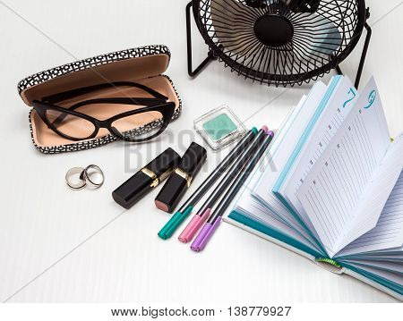 business essentials at the office overhead business woman accessories