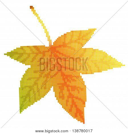 Maple leaf vector illustration, illustration with beautiful autumn sycamore leaf halftone isolated on white background