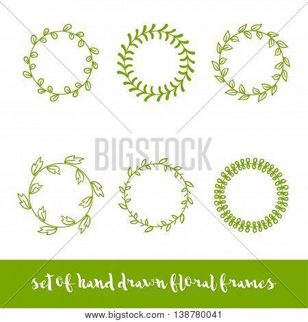 Set of six cute vintage vector hand drawn circle floral frames.