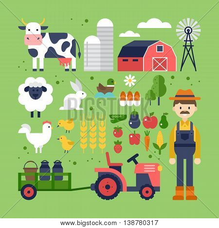 Farm food products and animals icons. Harvest agriculture and natural organic farm icons for graphic and web disgn