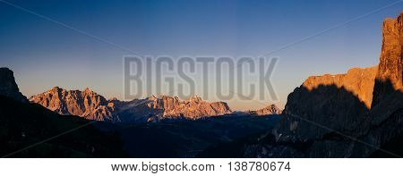 Rocky Mountains at sunset. Dolomite Alps Italy
