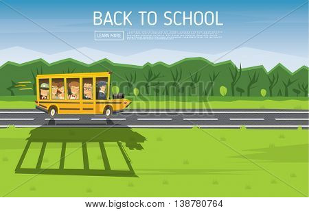 Back to School. Vector Illustration. Yellow Racing School Bus in Cartoon Style with Pupils and Copy Space.
