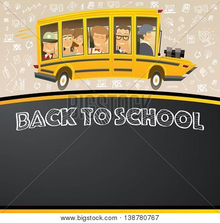 Back to School on Black Chalk Board. Vector Illustration. Racing School Bus in Cartoon Style with Pupils and Copy Space.