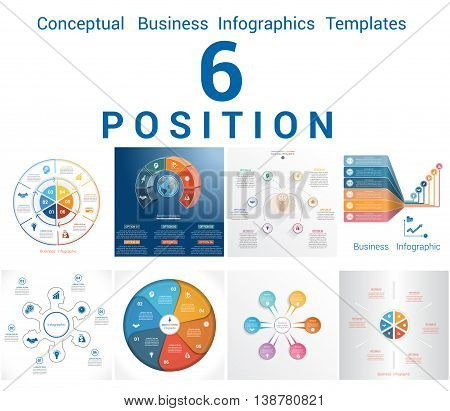 Set Vector Templates Infographics Business Conceptual Cyclic Processes for Six Positions Text Area Possible to use for Workflow Banner Diagram Web Design Timeline Area Chart